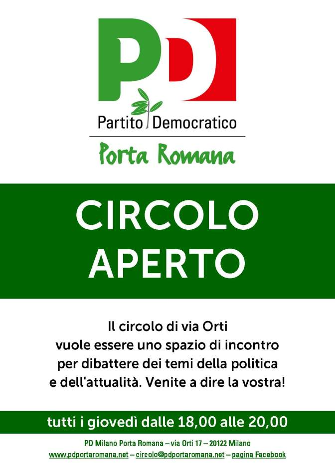 Anche giovedì 6 agosto il Circolo sarà aperto come di consueto ma dalle 18.30 alle 20.00 per il classico Giovedì democratico. Vi aspettiamo!