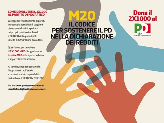 2×1000 AL PARTITO DEMOCRATICO CODICE M20 IN DICHIARAZIONE DEI REDDITI