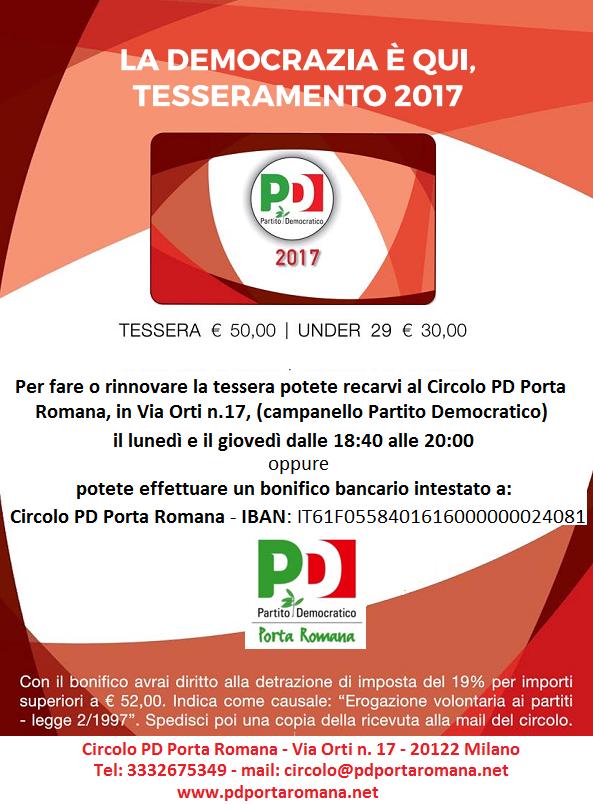 CAMPAGNA DI TESSERAMENTO 2017