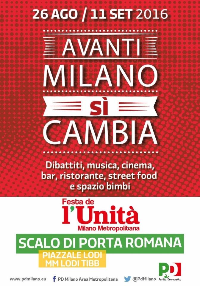 FESTA DE L'UNITA' ALLO SCALO ROMANA DAL 26 AGOSTO ALL'11 SETTEMBRE