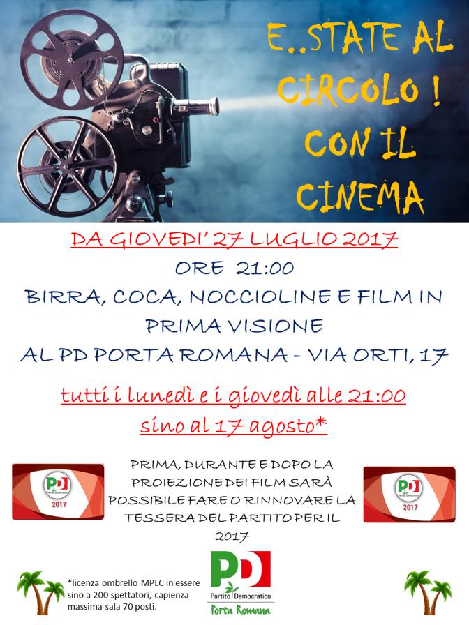 """E..STATE AL CIRCOLO! Film in programmazione il 7, 10 e 17 agosto e serata su """"un anno di consigliatura"""" del 25 settembre"""